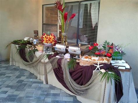 party buffet tables   luau buffet table   Parties   yummy