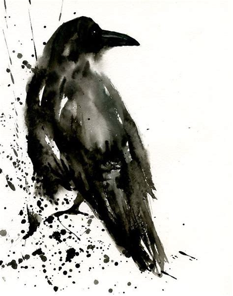 watercolor tattoo raven original watercolor painting 8x10inch by dimdi i
