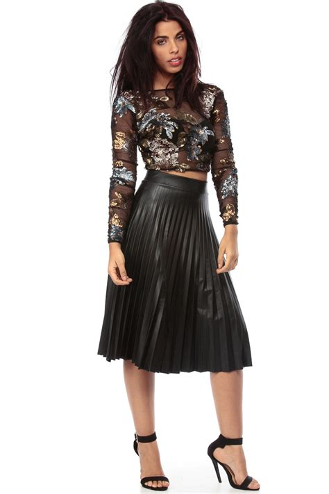 black faux leather pleated midi skater skirt