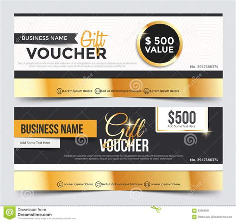 business card voucher template gift voucher template stock vector image 63968381