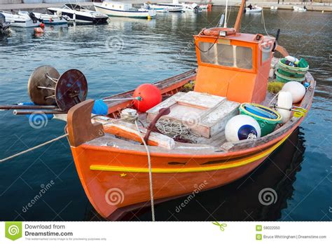 greek fishing boat plans small greek fishing boat in harbour stock photo image of