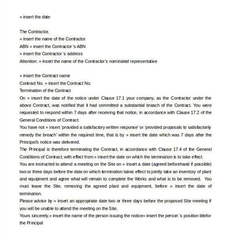 contract termination letter templates ms word