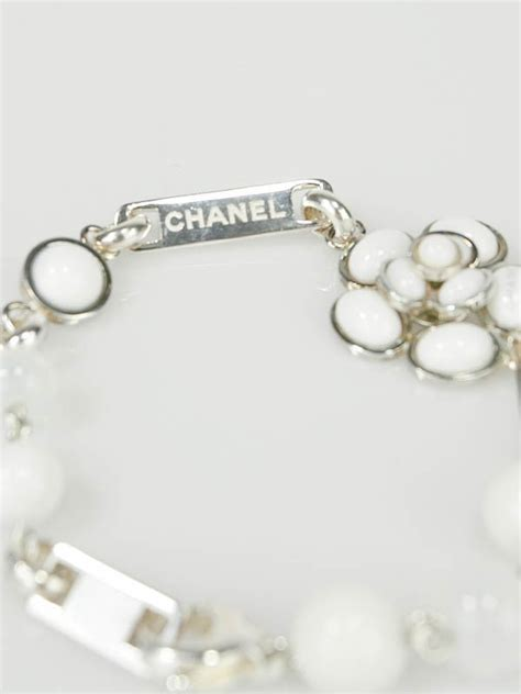 Chanel 3312 Flower Silver chanel white pearlescent resin and sterling silver camellia flower bracelet yoogi s closet