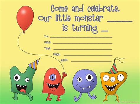 happy birthday invitations templates little monsters birthday invitation free printable