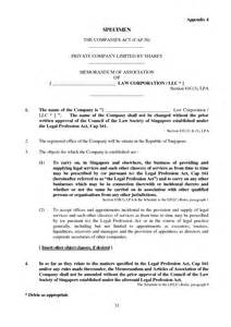 articles of association template memorandum and articles of association template
