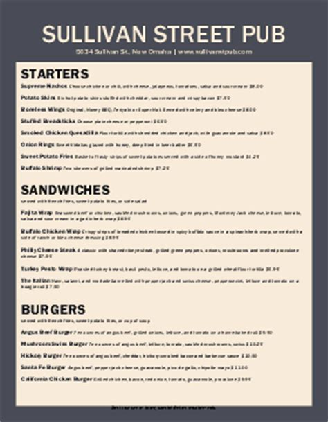 pub menu template gastropub menu templates musthavemenus 6 found