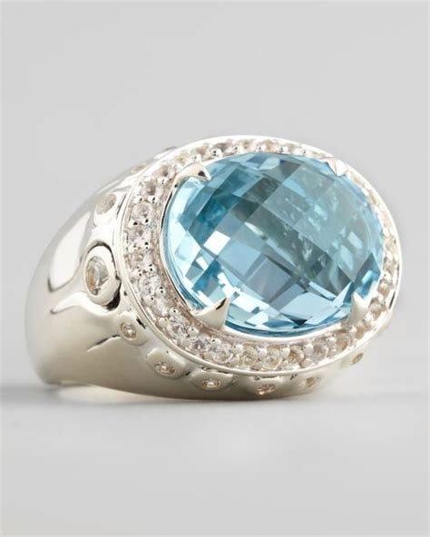 Batu Blue Topaz I231 hardy batu bamboo small blue topaz oval ring in silver sterling silver lyst