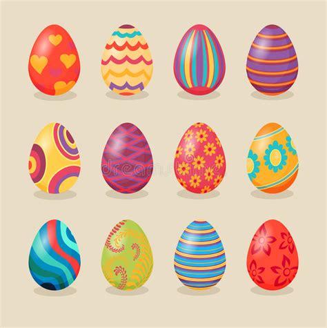 easter egg designs set of easter eggs design flat stock vector illustration