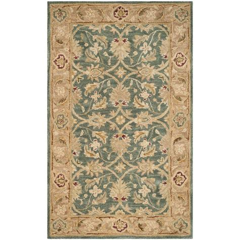 area rugs teal blue safavieh antiquity teal blue taupe 3 ft x 5 ft area rug at849b 3 the home depot