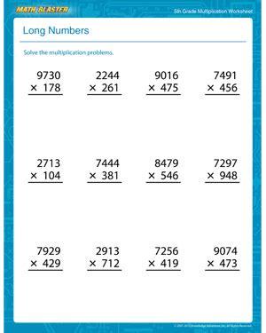 long numbers free printable multiplication worksheet for