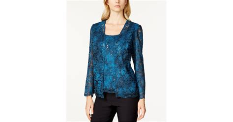Ombre Jaket Lace Prada lyst alex evenings ombre sequin lace jacket and shell in blue