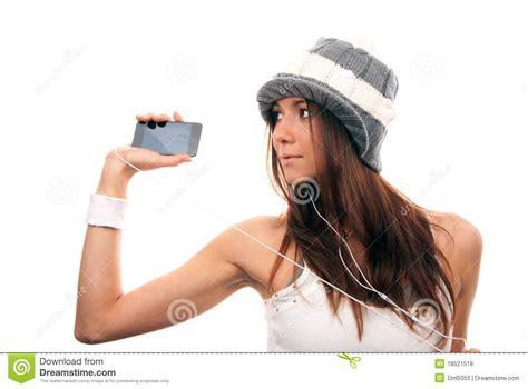 pretty woman mp3 pretty woman listening music in headphones royalty free