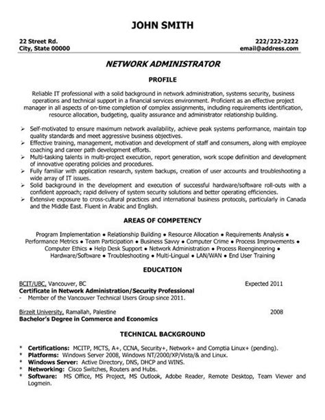 resume template for system administrator 9 best best network administrator resume templates sles images on resume