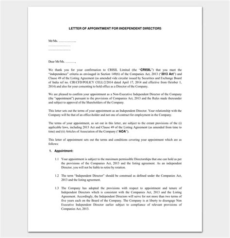 appointment letter to independent director business appointment letter 20 sles exles formats