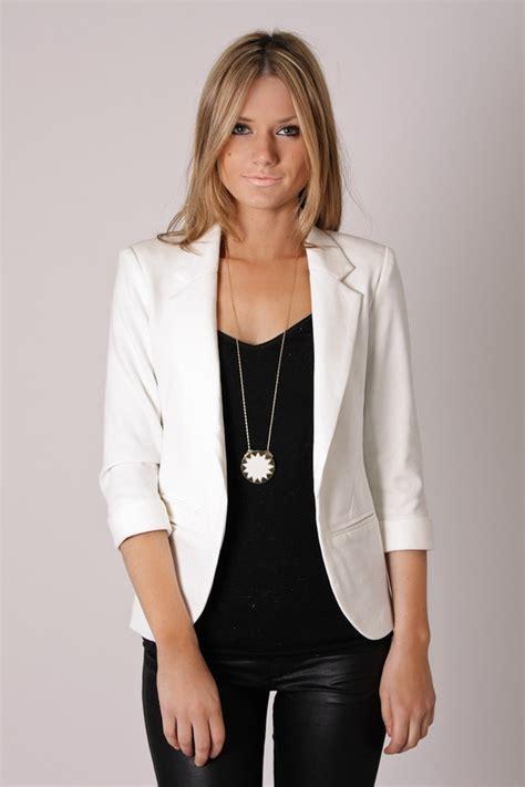 Blazer White White Blazer And Waxed Black Casual Dressy
