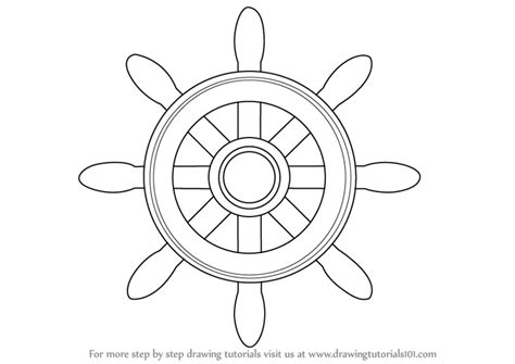 boat steering wheel drawing learn how to draw a boat wheel boats and ships step by
