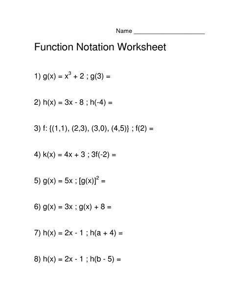 Function Notation Worksheet by 12 Best Images Of Function Notation Algebra Worksheets
