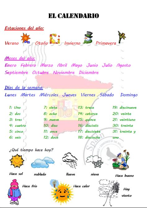 Calendrier Traduction Espagnol Les Saisons Et Les Jours De La Semaine