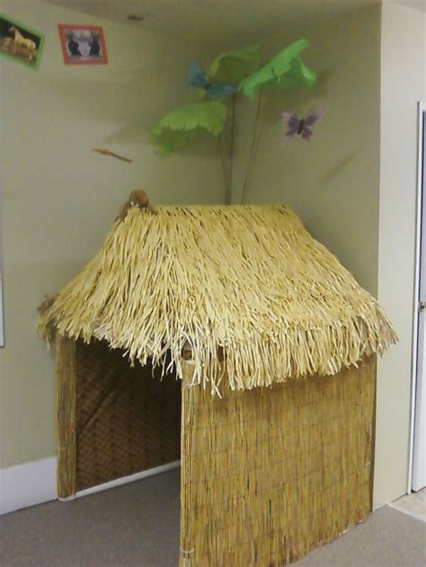 How To Make Paper Out Of Bamboo - grass hut cardboard with roof made from faux grass