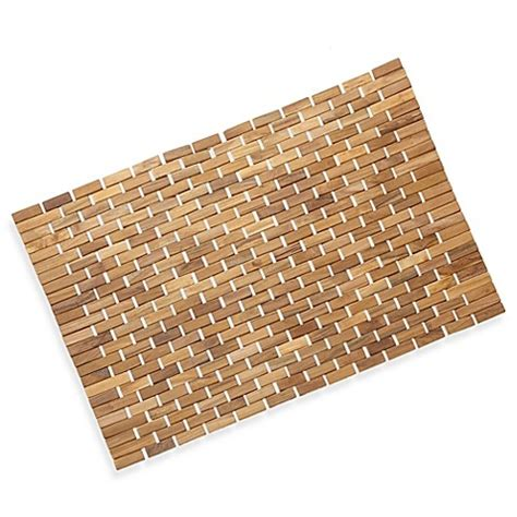 bed bath and beyond bathroom mats conair 174 pollenex solid teak roll up shower mat bed bath