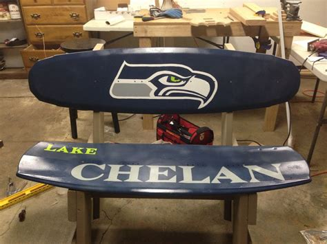 wakeboard bench diy seahawks wakeboard bench auction pinterest