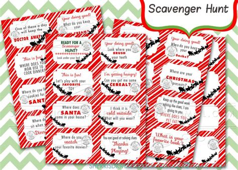 printable clue directions elf scavenger hunt clue cards elf on the shelf by