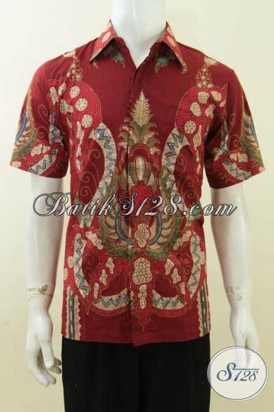 Baju Batik Lelaki Merah baju batik tulis warna merah hem batik motif terkini busana batik kerja lengan pendek lelaki
