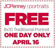 jcpenney portrait printable coupons no sitting fee free 8 215 10 portrait at jcpenney portrait studios on 4 16