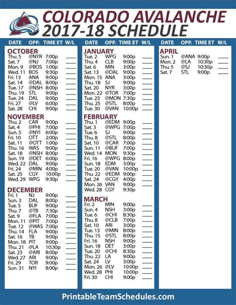 printable habs schedule 32 best nhl hockey schedule 2017 2018 images on