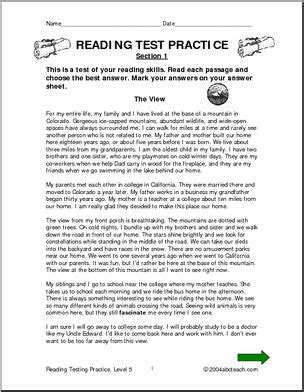 reading comprehension test in grade 5 reading comprehension level 5 testing practice i