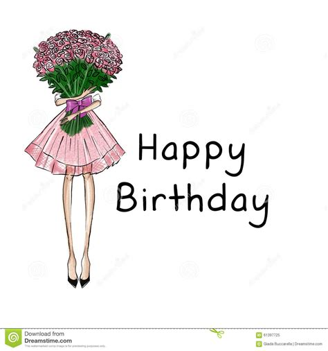 happy birthday fashion design girl holding roses bouquet with text background happy