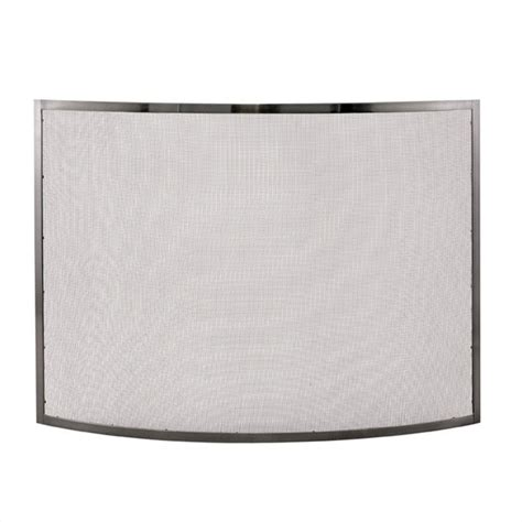 uniflame single panel curved pewter fireplace screen ebay