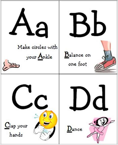 printable alphabet movement cards abc exercise cards glitter fun and sunshine