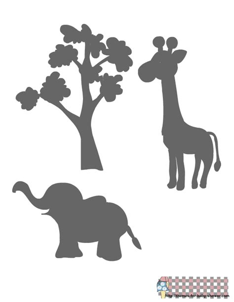 printable jungle animal silhouettes free printable baby shower stencils