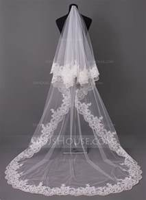 wedding veils one tier lace applique edge cathedral bridal veils with applique 006005417 jjshouse