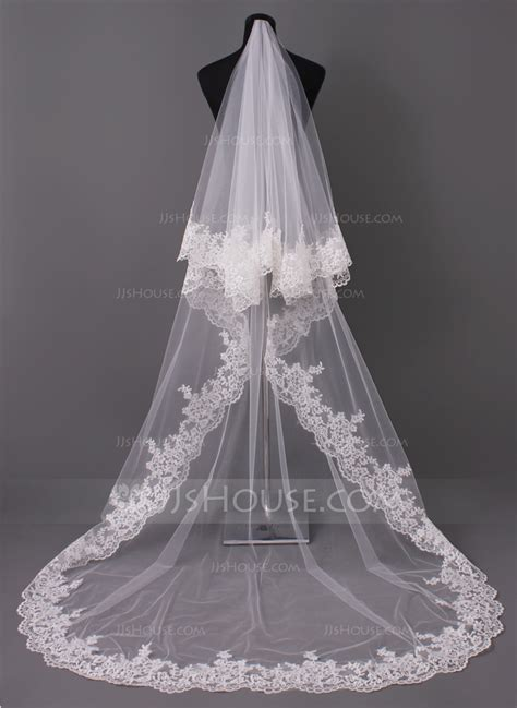 Bridal Veil by One Tier Lace Applique Edge Cathedral Bridal Veils With