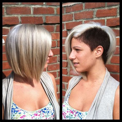steep asymetrical side shave bob haircuts 603 best 17902 blonde hair dark nape 2 images on