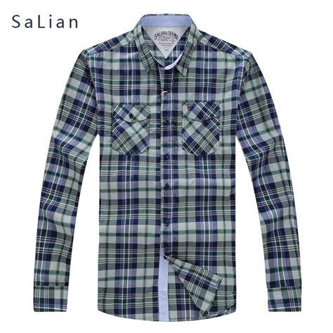 Plaid Shirt White Size S M salian s brand plaid shirt white green blue cotton sleeve shirt social plus