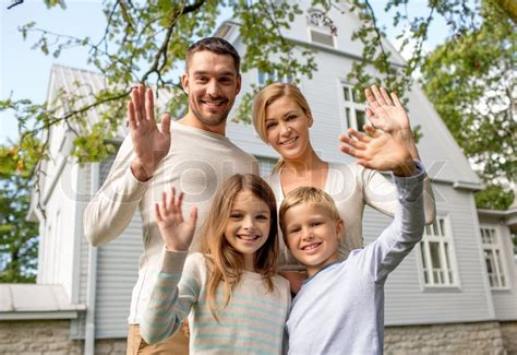 family in front of house family generation home gesture and people concept happy family standing in front