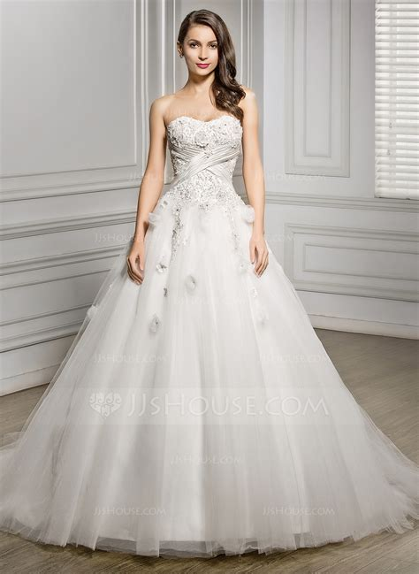 hochzeitskleid jjshouse ball gown sweetheart chapel train tulle wedding dress with