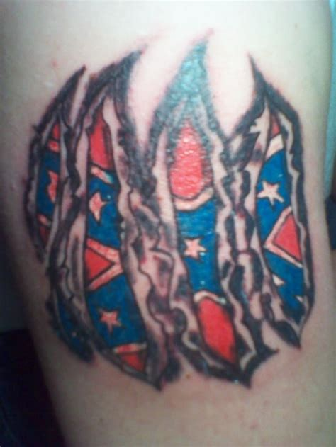 ripped flag tattoo collection of 25 torn skin rebel flag on shoulder