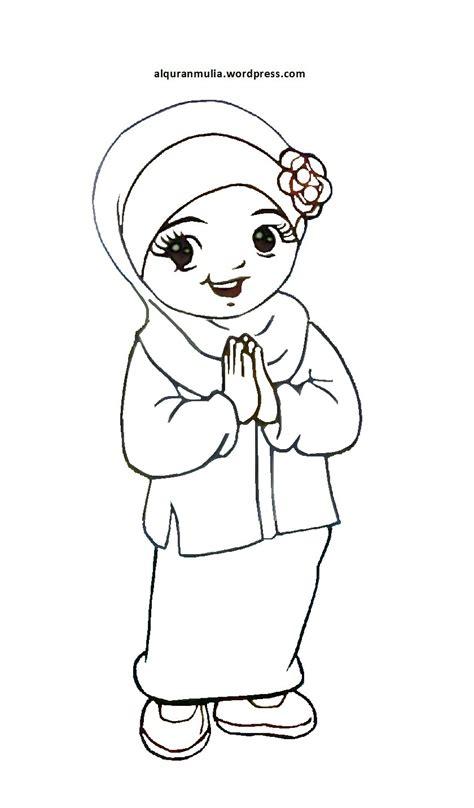 mewarnai gambar anak perempuan mewarnai gambar muslimah cartoon mewarnai newhairstylesformen2014 com