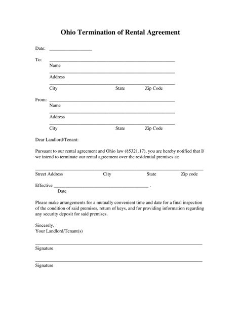 printable lease agreement ohio free ohio lease termination letter form 30 day notice