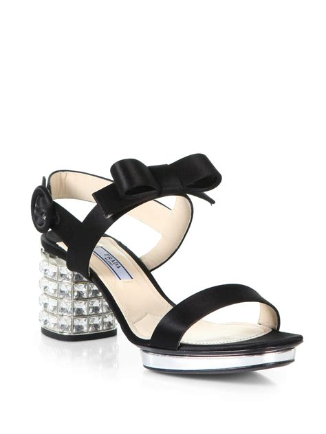 black prada sandals prada satin jeweled heel sandals in black nero black lyst