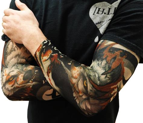 realistic temporary tattoos sleeves vicious wolf sleeves pair