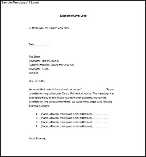 Letter Journal Cover Letter Sle Journal Cover Letter Templates