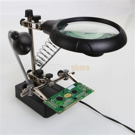 Helping With Soldering Stand helping soldering stand with led light magnifier