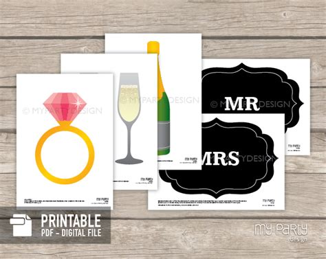 photo booth props on a stick printable wedding collection