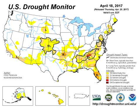 us drought map u s drought monitor update for april 18 2017 national centers for environmental information