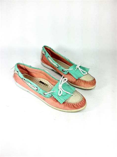 timberland boat shoes turquoise leather moccasin boat shoes 10 turquoise and coral